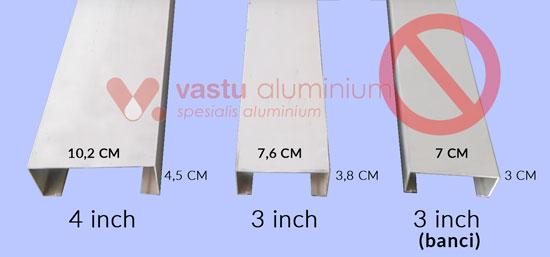 dimensi kusen aluminium di cibarusah